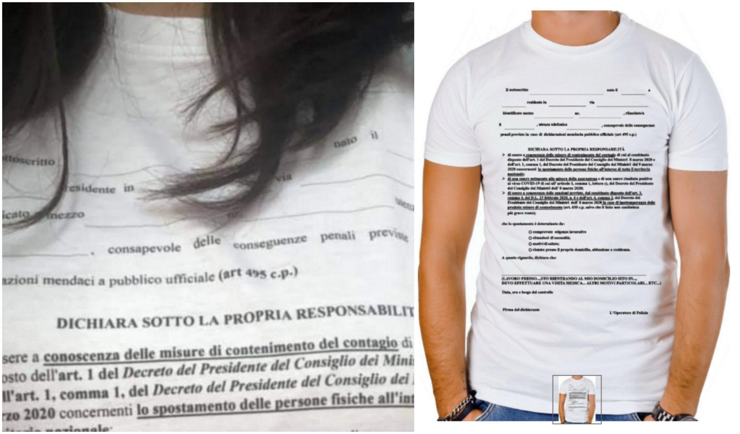 Su ebay la t-shirt con l'autocertificazione