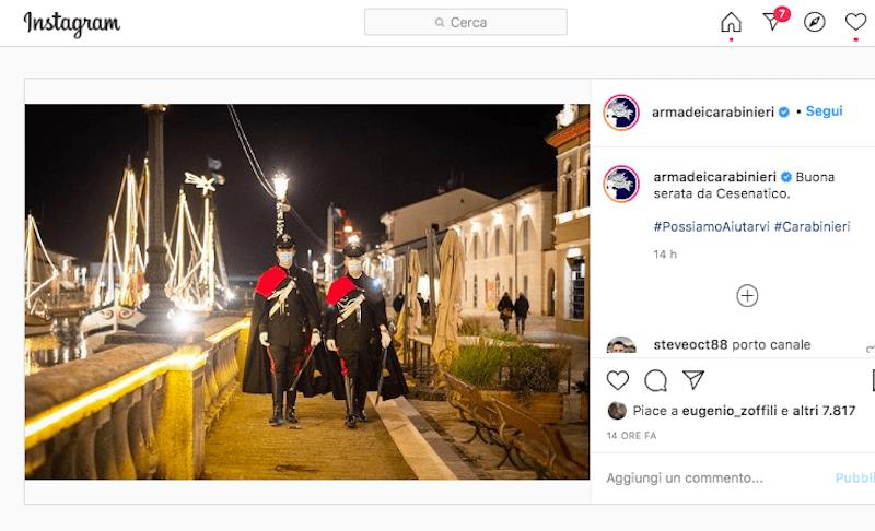 Saluti da Cesenatico dall'Arma dei Carabinieri