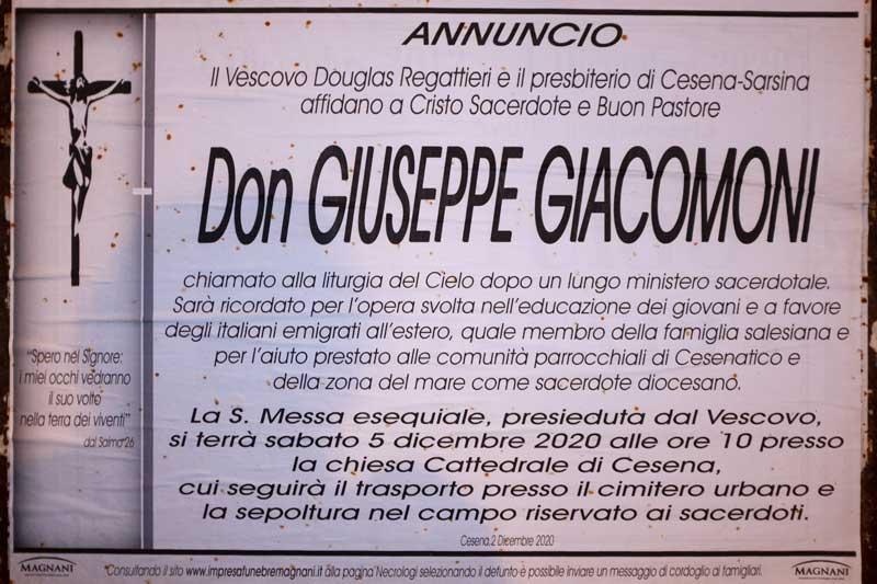 Il necrologio choc per Don Giacomoni